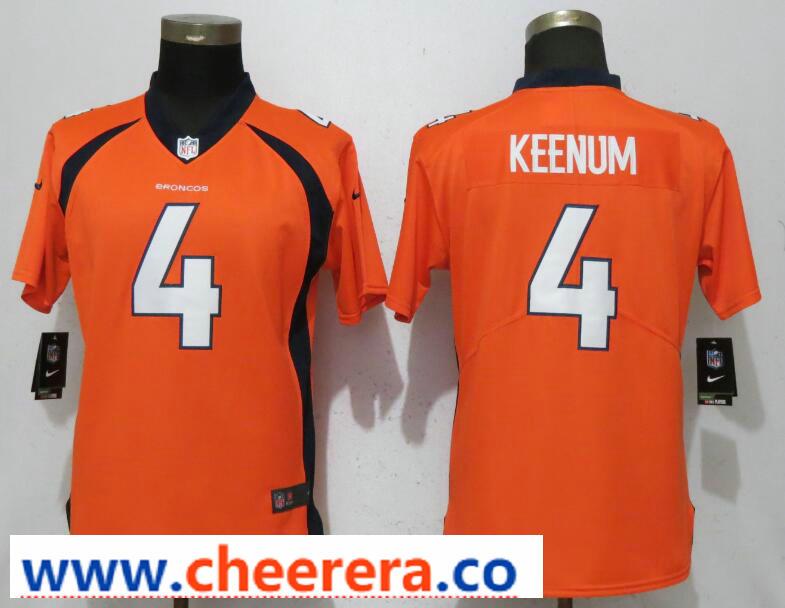 Nike Broncos 4 Case Keenum Orange Women Vapor Untouchable Limited Jersey