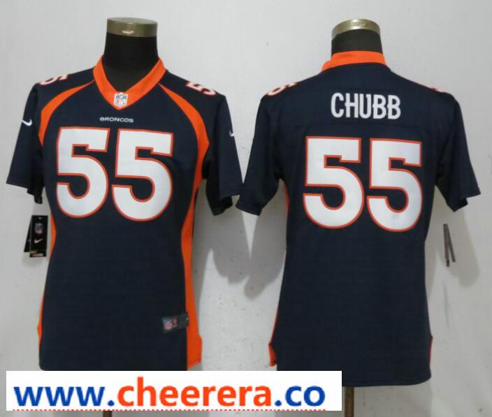 Nike Broncos 55 Bradley Chubb Navy Women Vapor Untouchable Limited Jersey