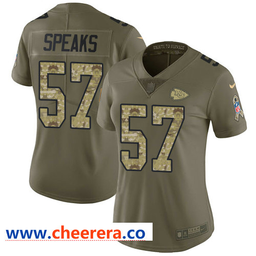 Nike Chiefs #57 Breeland Speaks Olive Camo Women's Stitched NFL Limited 2017 Salute to Service Jersey