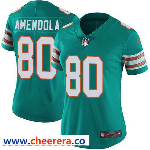Nike Dolphins #80 Danny Amendola Aqua Green Alternate Women's Stitched NFL Vapor Untouchable Limited Jersey