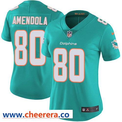 Nike Dolphins #80 Danny Amendola Aqua Green Team Color Women's Stitched NFL Vapor Untouchable Limited Jersey