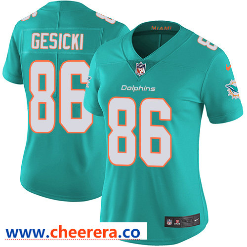 Nike Dolphins #86 Mike Gesicki Aqua Green Team Color Women's Stitched NFL Vapor Untouchable Limited Jersey