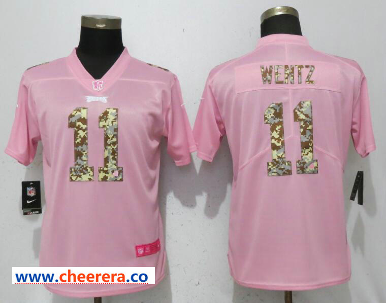 Nike Eagles 11 Carson Wentz Pink Camo Fashion Women Limited Jersey