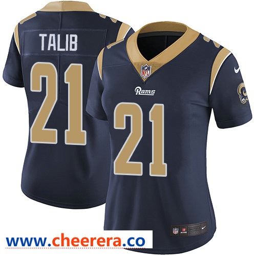 Nike Rams #21 Aqib Talib Navy Blue Team Color Women's Stitched NFL Vapor Untouchable Limited Jersey