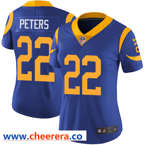 Nike Rams #22 Marcus Peters Royal Blue Alternate Women's Stitched NFL Vapor Untouchable Limited Jersey