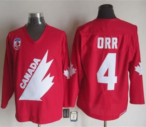 Men's Olympic 1991 CA. #4 Bobby Orr Red CCM Throwback NHL Jersey