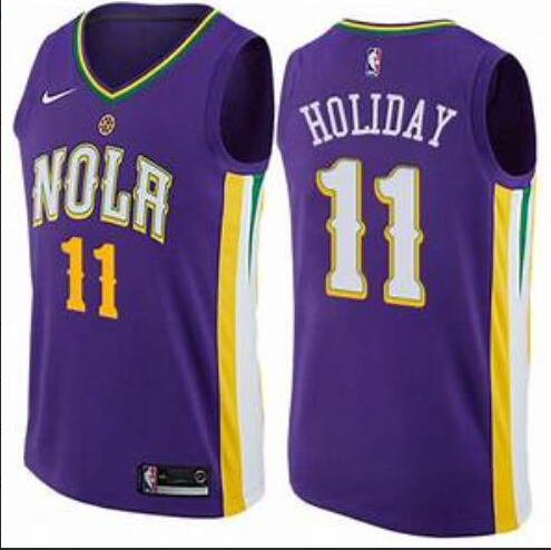 Men's New Orleans Pelicans #11 Jrue Holiday Purple NBA Nike Revolution 30 Swingman Jersey