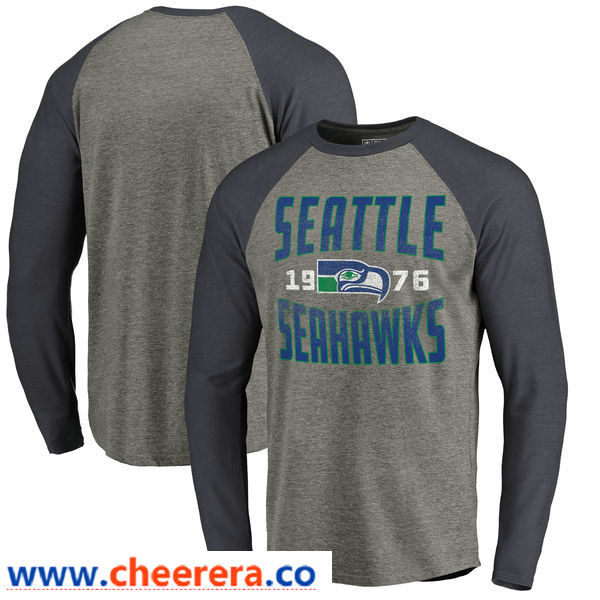 Seattle Seahawks NFL Pro Line by Fanatics Branded Timeless Collection Antique Stack Long Sleeve Tri-Blend Raglan T-Shirt Ash