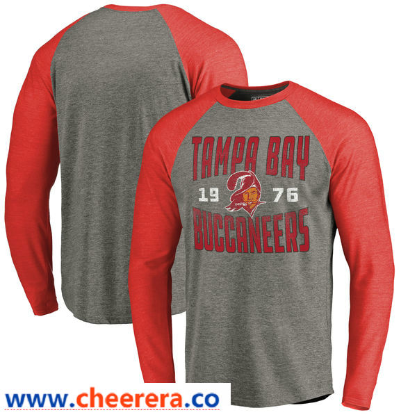 Tampa Bay Buccaneers NFL Pro Line by Fanatics Branded Timeless Collection Antique Stack Long Sleeve Tri-Blend Raglan T-Shirt Ash