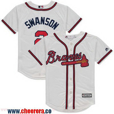 Toddler Atlanta Braves #2 Dansby Swanson Whtie Home Stitched MLB Majestic Cool Base Jersey