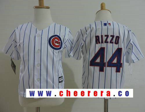 Toddler Chicago Cubs #44 Anthony Rizzo White Stitched MLB Majestic Cool Base Jersey
