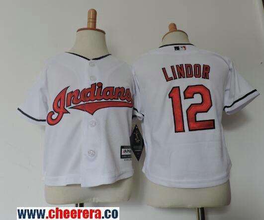 Toddler Cleveland Indians #12 Francisco Lindor White Stitched MLB Majestic Cool Base Jersey