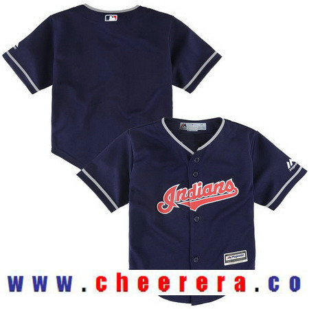 Toddler Cleveland Indians Navy Blue Alternate Majestic Cool Base Custom Baseball Jersey