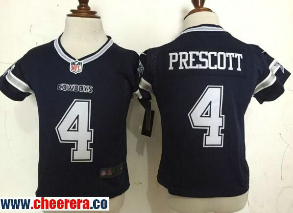 Toddler Dallas Cowboys #4 Dak Prescott Navy Blue Team Color Stitched NFL Nike Game Jersey