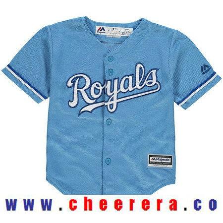 Toddler Kansas City Royals Light Blue Alternate Majestic Cool Base Custom Baseball Jersey