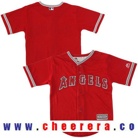 Toddler Los Angeles Angels of Anaheim Red Alternate Majestic Cool Base Custom Baseball Jersey