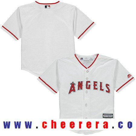 Toddler Los Angeles Angels of Anaheim White Home Majestic Cool Base Custom Baseball Jersey