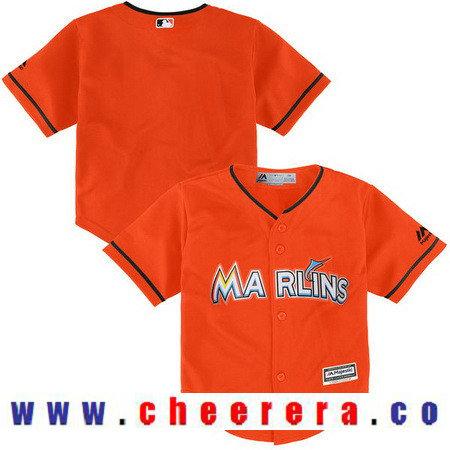 Toddler Miami Marlins Fire Red Orange Alternate Majestic Cool Base Custom Baseball Jersey