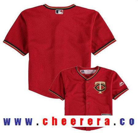 Toddler Minnesota Twins Scarlet Red Alternate Majestic Cool Base Custom Baseball Jersey