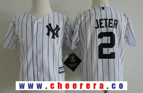 Toddler New York Yankees 2 Derek Jeter White Home Stitched MLB Majestic Cool Base Jersey
