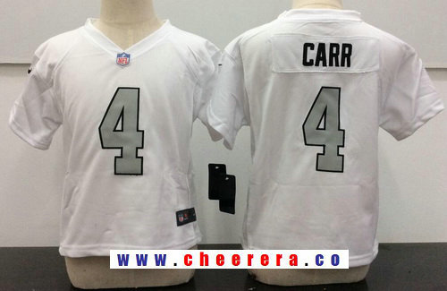 Toddler Oakland Raiders #4 Derek Carr White 2016 Color Rush Stitched NFL Nike Jersey