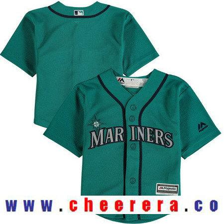 Toddler Seattle Mariners Aqua Green Alternate Majestic Cool Base Custom Baseball Jersey