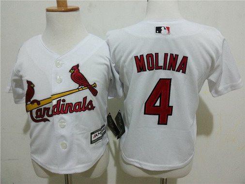 Toddler St. Louis Cardinals #4 Yadier Molina Home White 2015 MLB Cool Base Jersey