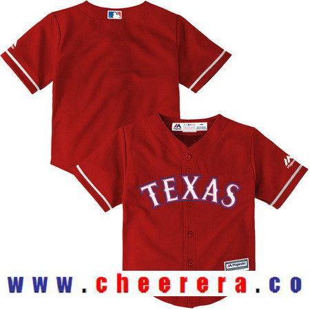 Toddler Texas Rangers Scarlet Red AlternateMajestic Cool Base Custom Baseball Jersey