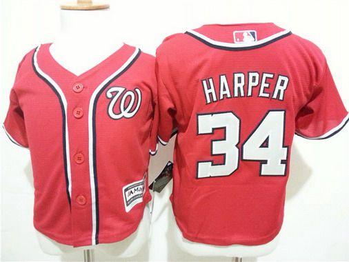 Toddler Washington Nationals #34 Bryce Harper Alternate Red 2015 MLB Cool Base Jersey