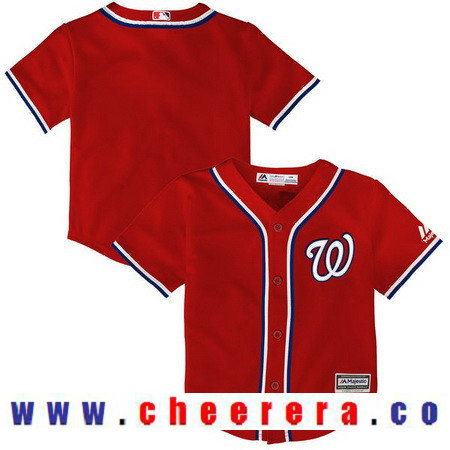 Toddler Washington Nationals Scarlet Red Alternate Majestic Cool Base Custom Baseball Jersey