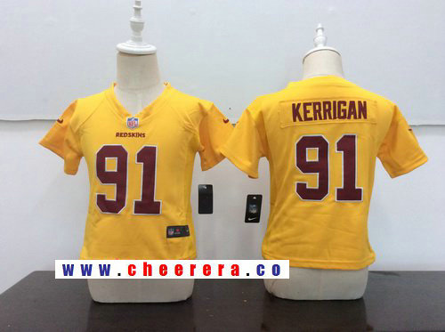Toddler Washington Redskins #91 Ryan Kerrigan Gold 2016 Color Rush Stitched NFL Nike Game Jersey