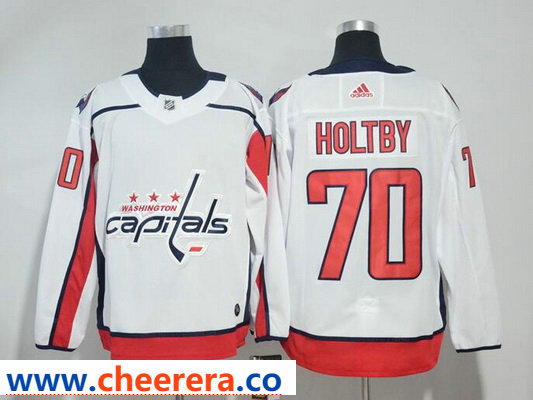 Washington Capitals #70 Braden Holtby White Stitched Adidas NHL Away Men's Jersey
