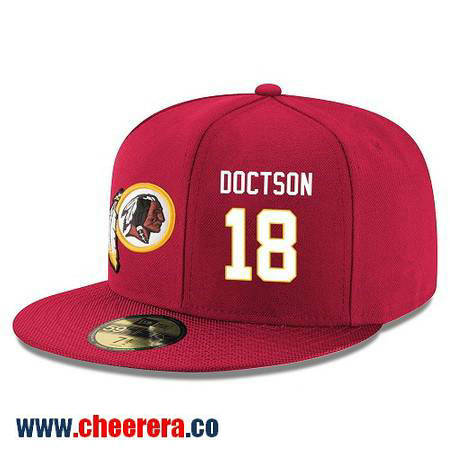 Washington Redskins #18 Josh Doctson Snapback Cap NFL Player Red with White Number Hat