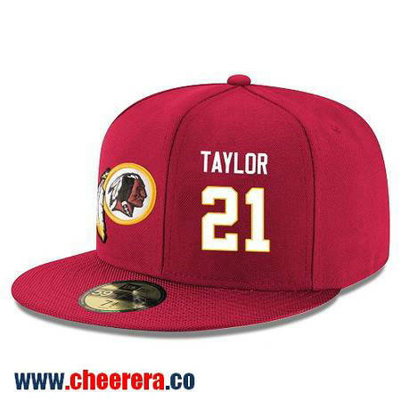 Washington Redskins #21 Sean Taylor Snapback Cap NFL Player Red with White Number Hat
