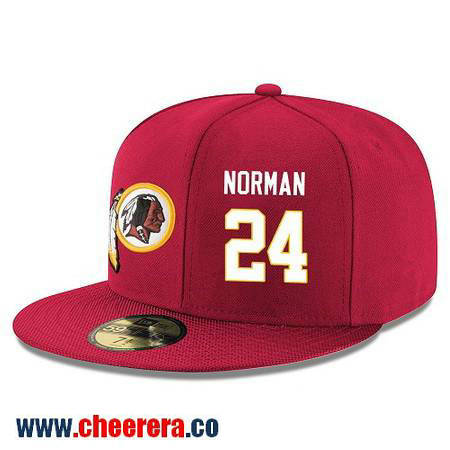 Washington Redskins #24 Josh Norman Snapback Cap NFL Player Red with White Number Hat