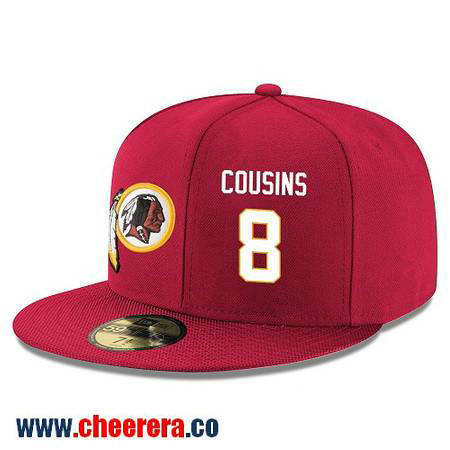 Washington Redskins #8 Kirk Cousins Snapback Cap NFL Player Red with White Number Hat