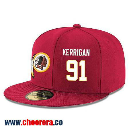 Washington Redskins #91 Ryan Kerrigan Snapback Cap NFL Player Red with White Number Hat