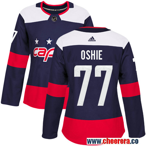 Women's Adidas Capitals #77 T.J. Oshie Navy Authentic 2018 Stadium Series Stitched NHL Jersey