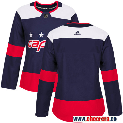 Women's Adidas Capitals Blank Navy Authentic 2018 Stadium Series Stitched NHL Jersey
