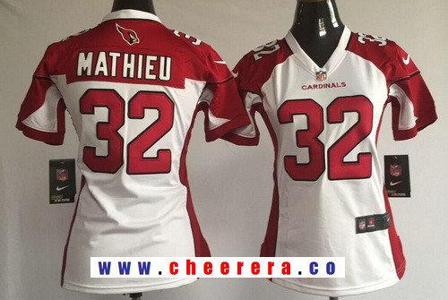 Women's Arizona Cardinals #32 Tyrann Mathieu White Road Stitched NFL Nike Game Jersey