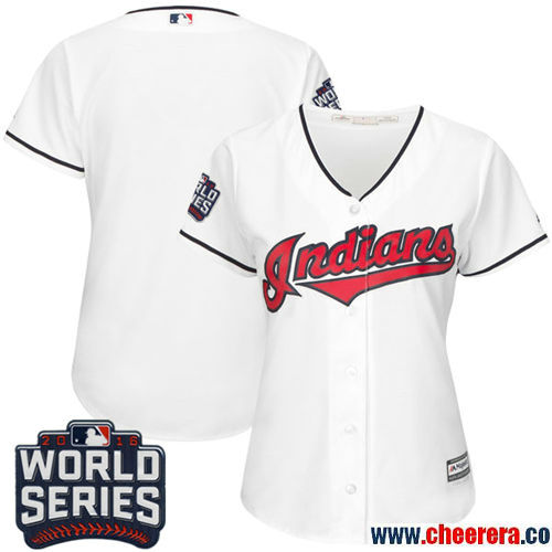 Women's Cleveland Indians Blank White Home Stitched MLB Majestic Flex Base Jersey with 2016 World Series Patch