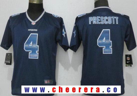 Women's Dallas Cowboys #4 Dak Prescott Black Strobe Stitched NFL Nike Fashion Jersey