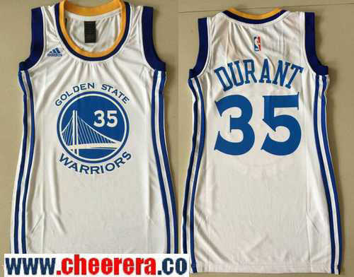 Women's Golden State Warriors #35 Kevin Durant White adidas NBA Dress Jersey