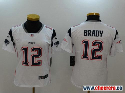 Women's New England Patriots #12 Tom Brady White 2017 Vapor Untouchable Stitched NFL Nike Limited Jersey