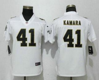 Women's New Orleans Saints #41 Alvin Kamara White 2017 Vapor Untouchable Stitched NFL Nike Limited Jersey