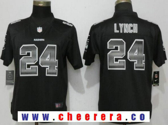 Women's Oakland Raiders #24 Marshawn Lynch Black Strobe 2015 NFL Nike Fashion Jersey