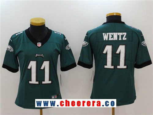 Women's Philadelphia Eagles #11 Carson Wentz Midnight Green 2017 Vapor Untouchable Stitched NFL Nike Limited Jersey