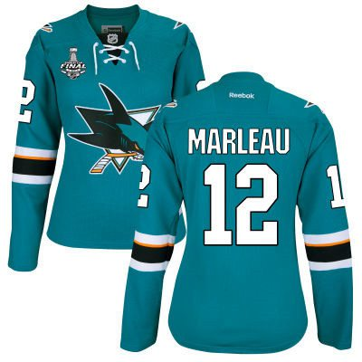 Women's San Jose Sharks #12 Patrick Marleau Teal Blue 2016 Stanley Cup Home NHL Finals Patch Jersey