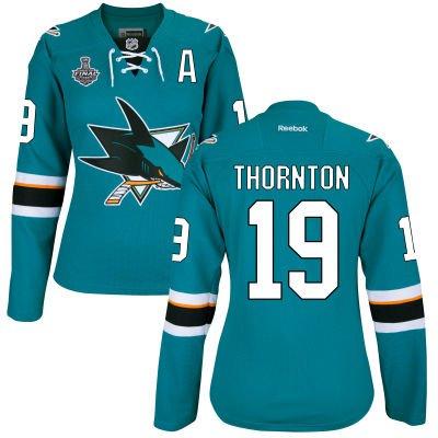 Women's San Jose Sharks #19 Joe Thornton Teal Blue 2016 Stanley Cup Home NHL Finals A Patch Jersey