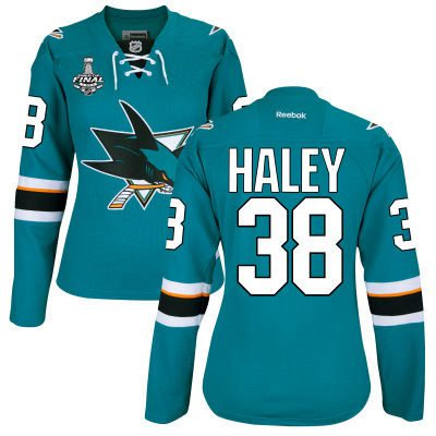 Women's San Jose Sharks #38 Micheal Haley Teal Blue 2016 Stanley Cup Home NHL Finals Patch Jersey